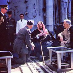 After Yalta in early Feb 1945, FDR sailed to the Suez Canal where he met on board with Saudi King Ibn Saud.  King Farouk of Egypt camped out in tents on the fore-deck of a near-by destroyer. They brought live goats and sheep on board as the king only ate fresh meat. Every morning at 11 they would dispatch a new animal on the bow of the destroyer. They even built campfires on deck.