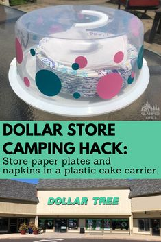 We LOVE dollar store camping hacks to use in and around our RV! Have you ever placed a stack of paper plates or napkins on your campsite picnic table only to have a breeze blow them off and all over the campground? Well, check out this easy hack! Store your paper plates and napkins in a cake carrier from the dollar store! Keep them right on the picnic table and they won't blow away. Follow the link for more hacks! #camping #hack #glamperlife #rv #dollarstore Diy Camping, Travel Trailer Camping, Camping Glamping, Camping Survival, Family Camping, Outdoor Camping, Camping Gear, Camping Outfits, Rv Travel