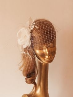Ivory BIRDCAGE VEIL with Ivory Flower, Romantic Style Bridal FASCINATOR by ancoraboutique, $130.00