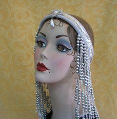 Items similar to Flapper Headpiece Hand Beaded Headband Art Deco Headdress on Etsy 1920s Headband, Flapper Headpiece, Headdress, Las Vegas, Mannequin Art, Art Deco Stil, Tribal Fusion, Art Deco Fashion, Bead Crafts