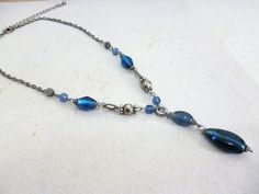 Ethnic Boho Beaded Necklace Blue Necklace Gypsy http://etsy.me/1A3wU2Z via @Etsy #Ethnic #Necklace #Jewelry #Blue #Y #Silver #Glass #Beaded