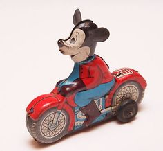 """Vintage Marx Line Mar Tin Litho Mickey Mouse Friction Motorcycle Measures 3 1 2"""""""