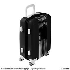 Want your luggage to stand out at the baggage claim area? It will do just that with the Black Fire II Carry On Luggage Suitcase designed by Artist C.L. Brown which features fire photography converted to black and white. Fully lined interior contains multiple mesh & sealed pockets for improved packing as well as a lid compartment & compression straps for securing & organizing packed items. Available in three base colors, you can customize aspects of the luggage from the color of the wheels to…