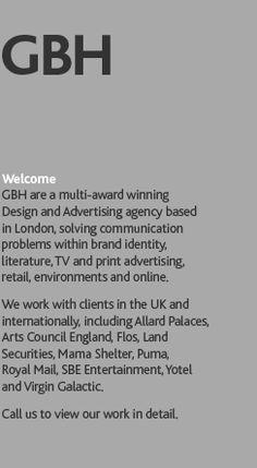 GBH Design, GBH London, Gregory Bonner Hale, Arts Council, Allard Palaces, Flos, Puma, Land Securities, Virgin Galactic, Royal Mail, Yotel