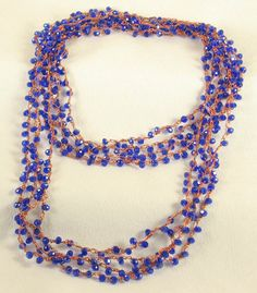 Cobalt Crystal Necklace Copper Royal Lapis Blue by VioletJewelry, $63.00