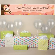 Banner - Owl Girl - Look Whooo's Having A Baby - Personalized Baby Shower Banner $19.99