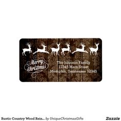 Rustic Country Wood Reindeer Merry Christmas Label Address Label SOLD on Zazzle