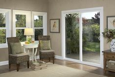 Sliding patio doors are designed to open horizontally. These doors work well in rooms with limited space, with panels that glide from side to side, allowing you to be more flexible with your home's interior layout. | Window World
