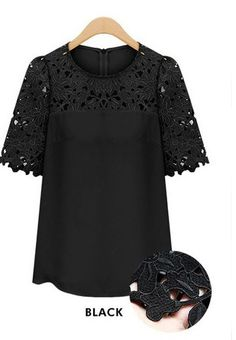 Buy Black Short Sleeve Hollow Lace Blouse from abaday.com, FREE shipping Worldwide - Fashion Clothing, Latest Street Fashion At Abaday.com