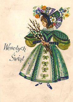 Danuta Imielska-Gebethner (b.1931) — Wesołych Swiąt   (632x890) Easter In Poland, Polish Easter, Polish Christmas, Polish Folk Art, Scandinavian Folk Art, Vintage Easter, Retro, Vintage Postcards, Illustrations Posters