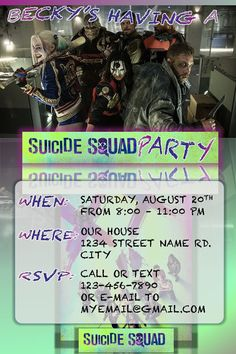 Suicide Squad Party Personalized invitation for you by OutOfNormal