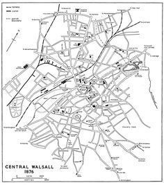 Map 1876 Walsall: The growth of the town Walsall, History Online, British History, Old Pictures, My Books, England, Birches, Map, Country