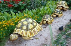 strolling tortoises--stone garden ornaments make from a durable resin ...