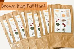 Go on a fall scavenger hunt! Use this brown bag idea so kids can collect the items as they go.