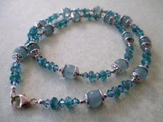 Calcite Blue Apatite and Swarovski Crystal Necklace by mdeja, $93.00
