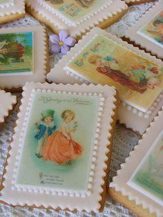 Vintage valentine cookies/ edible paper