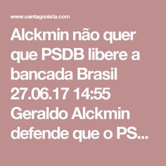 """Alckmin não quer que PSDB libere a bancada  Brasil 27.06.17 14:55 Geraldo Alckmin defende que o PSDB feche questão contra ou a favor do recebimento da denúncia da PGR contra Michel Temer. O governador disse hoje, no Palácio dos Bandeirantes: """"É preciso entender que denúncia não é condenação. Não podemos antecipar condenação."""" E mais: """"É grave, há uma denúncia e ela precisa ser apurada."""""""