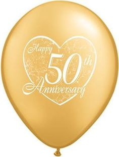 """Included: 10 Balloons Total 11"""" """"Happy 50th Anniversary"""" Latex Balloons Print is on 2 sides Colors include Gold Print is White These items may arrive flat or in retail packaging All balloons sold onli"""