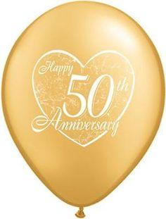 "10 pc - 11"" Happy 50th Anniversary Latex Balloon Party Decoration Wedding Gold"