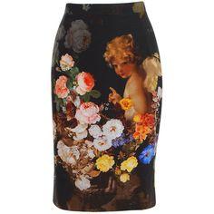 DOLCE & GABBANA Silk Stretch Cherub Skirt ($885) ❤ liked on Polyvore