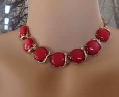 Lisner Red Thermoset Moonglow Set Necklace by Justelechose on Etsy, $75.00