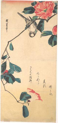 Utagawa Hiroshige: Camellia and Bullfinch - Metropolitan Museum of Art