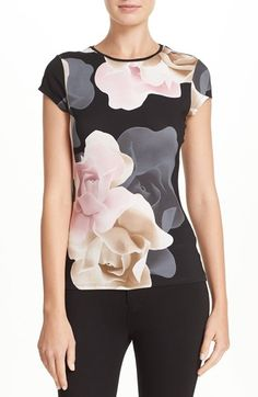 Free shipping and returns on Ted Baker London 'Tarlia - Porcelain Rose' Fitted Tee at Nordstrom.com. No shrinking violets here. An oversized floral print puts a head-turning spin on a cap-sleeve jersey tee.