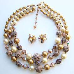 Vintage Vendome Bead Necklace Earrings Set Three Strand Art Glass Faux Pearl Sig