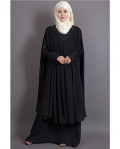 Beaded on neck band, double layer flare black Abaya gather at neck extra flare front and back with upper light weight georgette to flow in style , pull from neck to wear , handy fabric to care. New Abaya Style, Hijab Style Dress, Mode Abaya, Mode Hijab, Niqab Fashion, Fashion Dresses, Woman Dresses, Abaya Designs Dubai, Kaftan Abaya