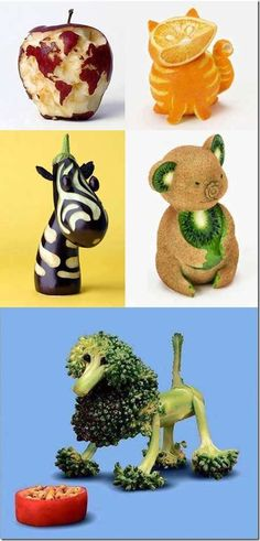 decorediv food art | Food art - broccoli lion, kiwi bear, eggplant zebra, orange kitty ...