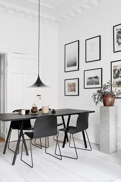 If you want to add a special touch to your Scandinavian dining room lighting design, you have to read this article that is filled with unique tips. Room Interior Design, Dining Room Design, Dining Room Furniture, Dining Rooms, Dining Area, Small Dining, Black Furniture, Furniture Ideas, Furniture Stores