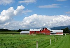 Red Barn on Vermont Landscape Stock Photos