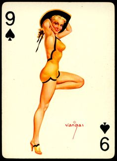 Alberto Vargas - Pin-up Playing Cards (1950) - 9 of Spades