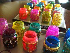 Mini Moroccan Lanterns: baby food jars, dimensional paint, translucent glass paint & spray paint