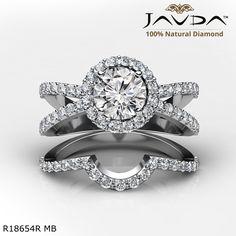 Round Diamond Engagement Ring 14k White Gold.