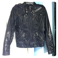 XXI Faux Leather Punk Moto Jacket An awesome biker-style jacket! If you're like me & love leather jackets covered in zippers & studs, this is the one for you! x) I love it, but it's too small for me now. Probably worn about a handful of times, still in like new condition. No flaws! All the zippers are functional & the collar has it's own belt-like accent piece! Just an overall awesome rocker jacket! Forever 21 Jackets & Coats
