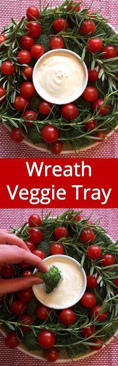 Christmas Wreath Vegetable Platter - so cute! Must make this for Christmas! | MelanieCooks.com