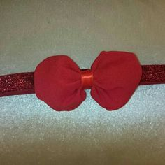 Chiffon on glittery. Candy Red, Bow Accessories, Hair Bows, Headbands, Etsy Seller, Chiffon, Create, Unique, Hair Ties