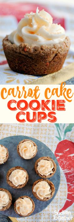 Busy bakers, do I have the recipe for you! These Carrot Cake Cookie Cups start w… Busy bakers, do I have the recipe for you! These Carrot Cake Cookie Cups start with a cake mix and end with two cream cheese frosting filled bites of delicious! Spring Desserts, Mini Desserts, Cookie Desserts, Just Desserts, Delicious Desserts, Plated Desserts, Delicious Cookies, Cake Mix Recipes, Cupcake Recipes