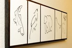 Minimalist Animal Art - Drawings Mounted on Wood - Tahoe Theme (trout, steller's jay, bear, coyote, buck). He creates custom sets of your choice of animals Trout Tattoo, Fish Tattoos, Animal Drawings, Art Drawings, Mountain Drawing, Fish Logo, Forest Theme, Animal Logo, Simple Art