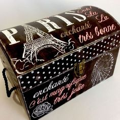 Punch Studio Paris Eiffel Tower Keepsake Storage Chest/Trunk/Boxes Rope  Handles #PunchStudio