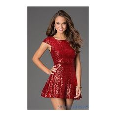 Short Cap Sleeve Sequin Dress featuring polyvore, women's fashion, clothing, dresses, red homecoming dresses, plus size formal dresses, prom dresses, red sequin dress and red prom dresses
