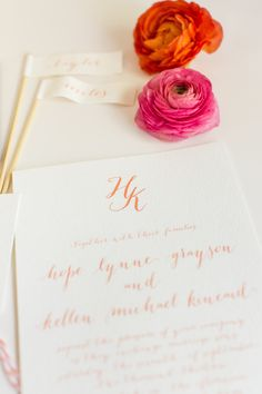 pretty pink invitation Photography: Justin DeMutiis Photography - justindemutiisphotography.com  Read More: http://www.stylemepretty.com/2014/03/28/peach-wedding-inspiration-full-of-color/