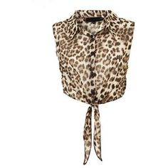 Leopard Bow Lapel Sleeveless Chiffon Short Blouse ($31) ❤ liked on Polyvore featuring tops, blouses, shirts, brown shirt, sleeveless blouse, leopard shirt, leopard chiffon blouse and short-sleeve blouse