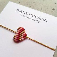 Macrame Heart in three colours Gold - Red - Pink {margin: font: 'Helvetica Neue'; -webkit-text-stroke: {-webkit-text-stroke: {font-kerning: none} {list-style-type: circle} Designed and manufac Purvida Bracelets, Bracelet Knots, Macrame Bracelets, Necklaces, Custom Jewelry, Handmade Jewelry, Pink Marshmallows, Diy Braids, Macrame Design