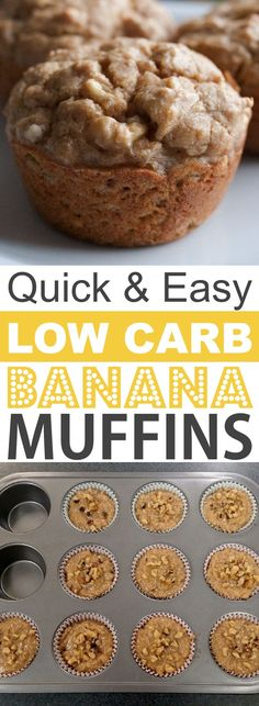 Easy Low Carb Banana Muffins | These quick and easy low carb keto muffins are perfect for breakfast, snacks and on the go! They're all high in protein, and most of them are made with almond flour or coconut flour-- healthy, sugar free, gluten free and delicious! Listotic.com