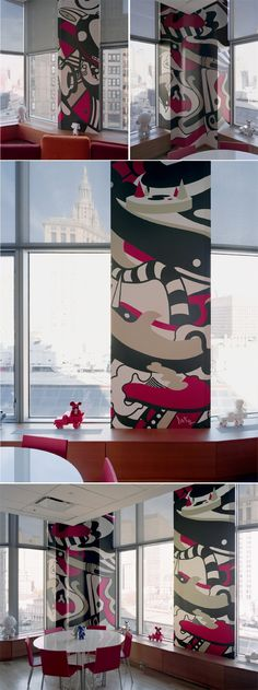 nice idea to wrap a pillar in office like this.