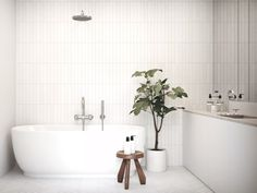 Bathroom Trends: Are Stacked Tiles the New Subway Tile Trends: Are Sta. Bathroom Trends: Are Stacked Tiles the New Subway Tile Trends: Are Stacked Tiles the New Home Interior, Bathroom Interior, Modern Bathroom, Small Bathroom, White Bathrooms, Minimalist Bathroom, Design Bathroom, Dream Bathrooms, Luxury Bathrooms
