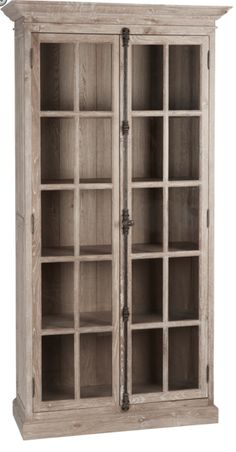 This whitewash display cabinet can be for so many different things. Versatile and functional this cabinet provides tons of closed storage. Large paned wood glass doors are accented with sturdy French