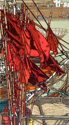 Red Flag Markers by H. Jackson, linocut (Group of Seven) Canadian Painters, Canadian Artists, Group Of Seven Artists, Red Flag, Wood Engraving, French Artists, Gravure, Landscape Paintings, Landscapes